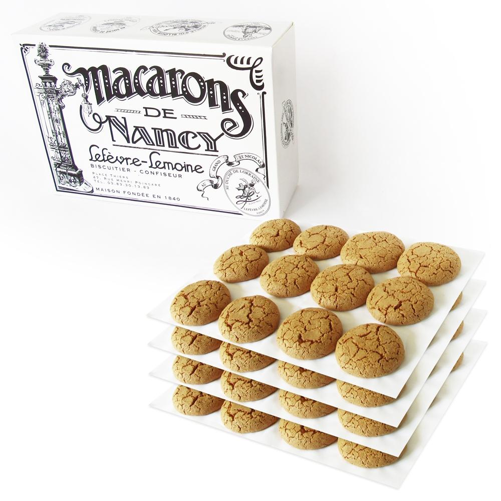 Nos boîtes de quatre douzaines de Macarons de Nancy. Poids : 1 kg