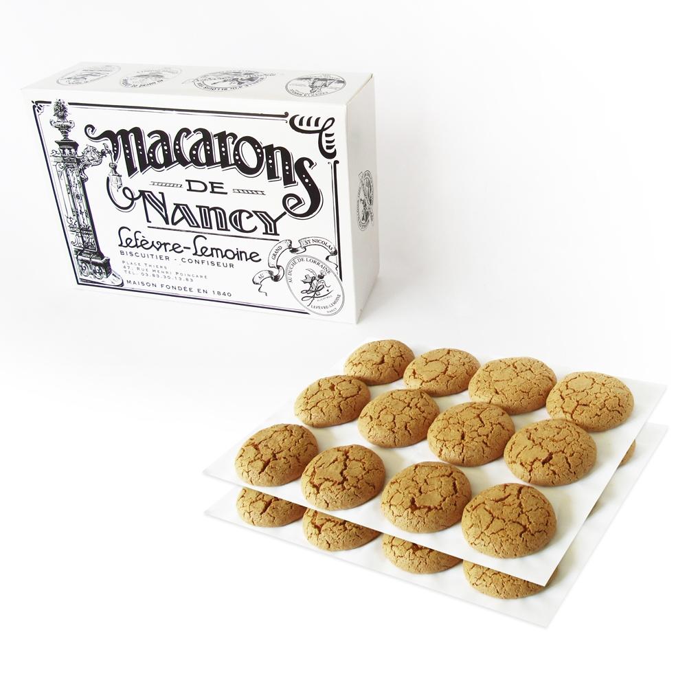 Nos boîtes de deux douzaines de Macarons de Nancy. Poids : 0,5 kg