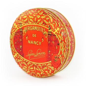 Nos grandes boîtes rondes de Bergamottes de Nancy. Poids : 0,8 kg
