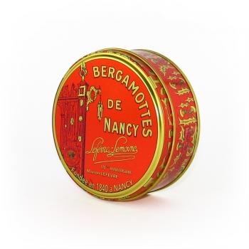 Nos petites boîtes rondes de Bergamottes de Nancy. Poids : 0,35 kg