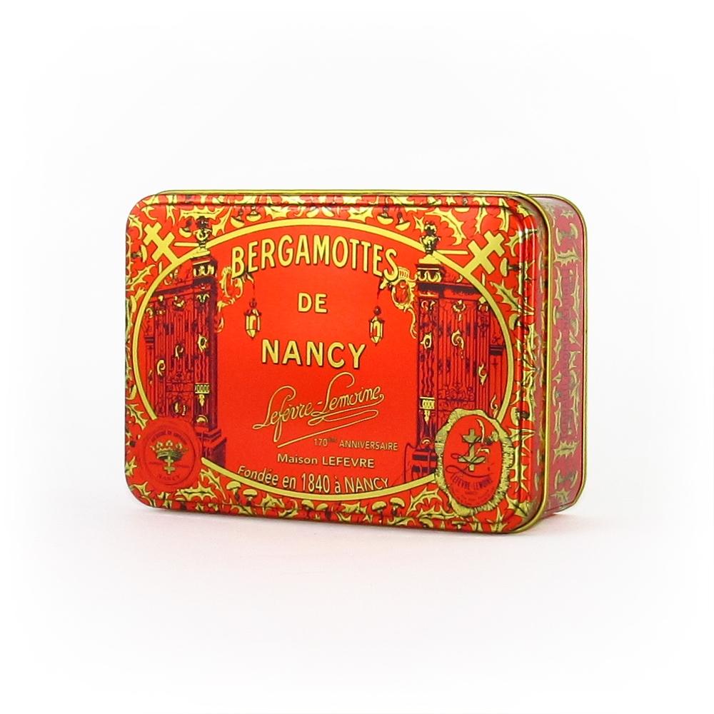 Nos petites boîtes rectangulaires de Bergamottes de Nancy. Poids : 0,6 kg